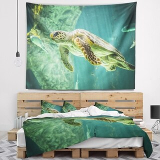 Designart 'Huge Turtle Swimming' Animal Wall Tapestry