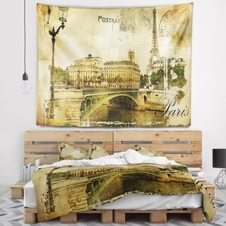 Designart 'Vintage Paris' Abstract Cityscape Wall Tapestry