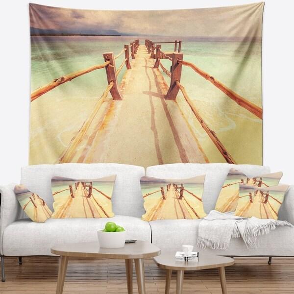 Designart 'Large Wooden Pier at Gili Island' Sea Bridge Wall Tapestry