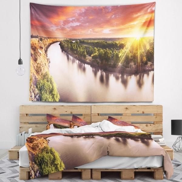 Designart 'Sunset over Murray River Panorama' Landscape Wall Tapestry
