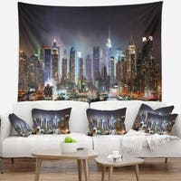 Designart 'New York City Skyscrapers in Blue Shade' Cityscape Wall Tapestry