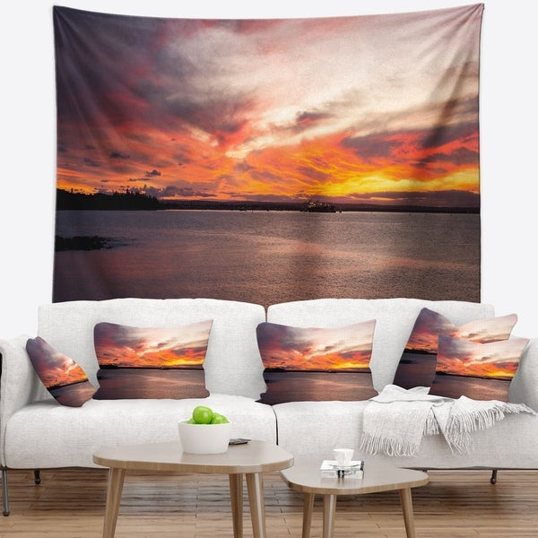 Designart 'Yellow Sky Over Calm Sydney Coast' Seashore Wall Tapestry