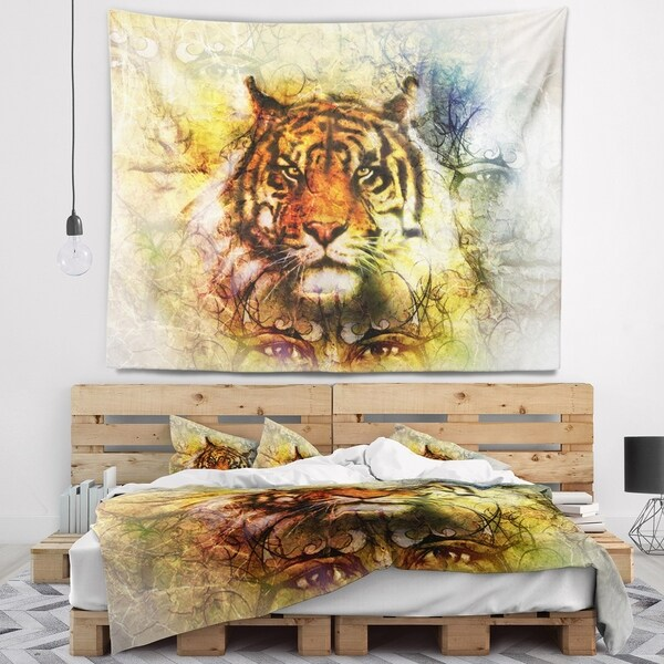 Designart 'Mighty Tiger with Mystic Face' Animal Wall Tapestry