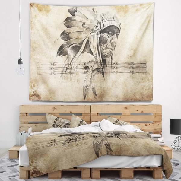 Designart 'American Indian Warrior Tattoo Sketch' Abstract Wall Tapestry