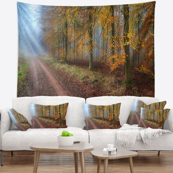 Designart 'Raising Sun in Fall Forest Panorama' Forest Wall Tapestry