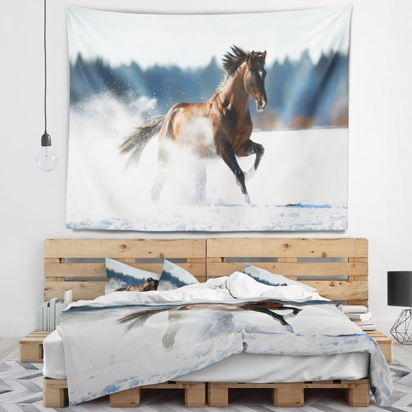 Designart 'Horse Running in Winter' Landscape Photography Wall Tapestry