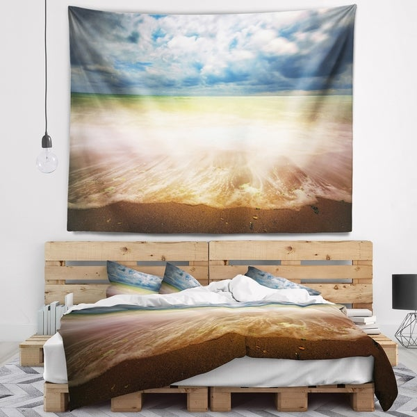 Designart 'Exotic Beach on Cloudy Summer Day' Seashore Wall Tapestry
