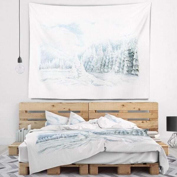 Designart 'Christmas Winter Happy Panorama' Landscape Wall Tapestry