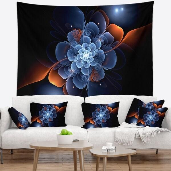 Designart 'Fractal Flower with Orange Flame' Floral Wall Tapestry