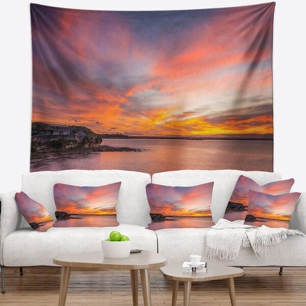 Designart 'Calm Sydney Beach with Yellow Sky' Seashore Wall Tapestry