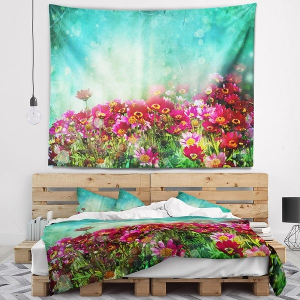 Designart 'Little Red and Pink Flowers on Blue' Floral Wall Tapestry