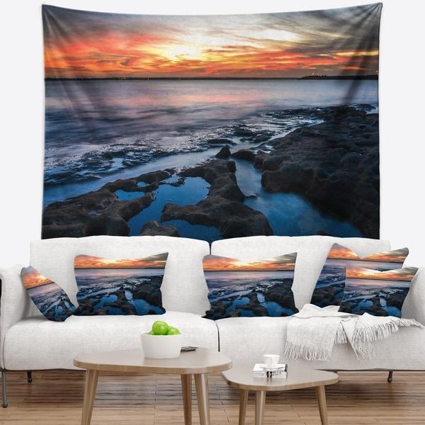 Designart 'Beautiful Blue Waters in Australia Beach' Seashore Wall Tapestry