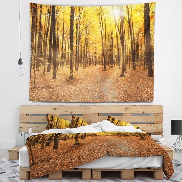 Designart 'Yellow Treetops in Fall Forest' Modern Forest Wall Tapestry