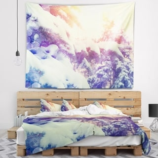 Designart 'Winter Pine Trees in Mountains' Landscape Wall Tapestry