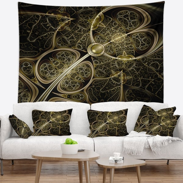 Designart 'Yellow Metallic Fabric Pattern' Abstract Wall Tapestry