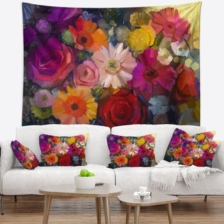 Designart 'Bouquet of Rose Daisy and Gerbera' Floral Wall Tapestry