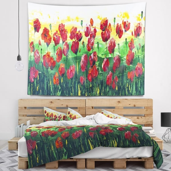 Designart 'Wild Red Poppies Field Panorama' Modern Landscape Wall Tapestry