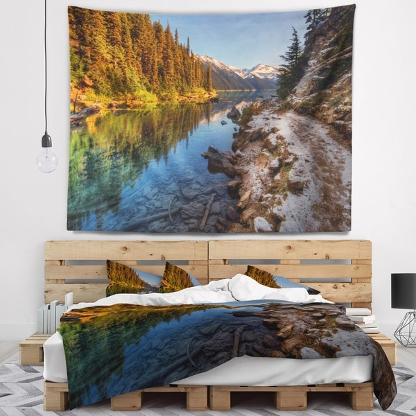 Designart 'Placid Lake between Mountains' Landscape Wall Tapestry