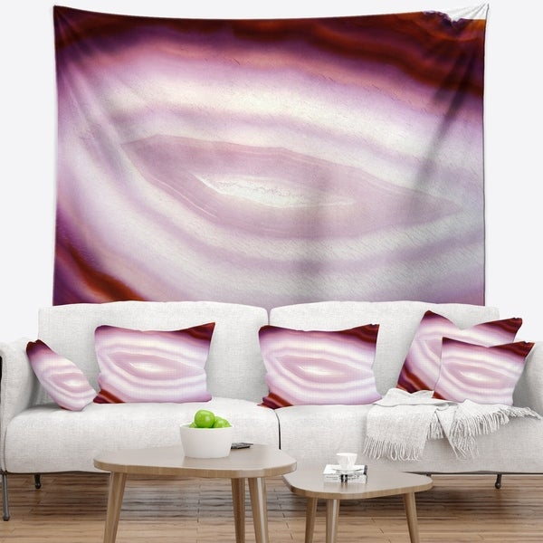 Designart 'Pink Agate Geode Geological Crystals' Abstract Wall Tapestry