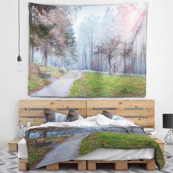 Designart 'Bright Sun over Autumn Trees' Landscape Wall Tapestry