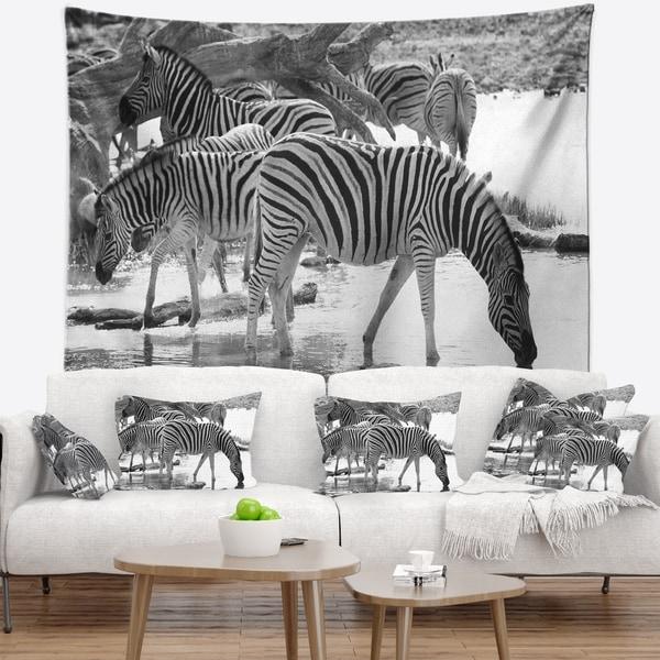 Designart 'Herd of Zebra Black and White' African Wall Tapestry