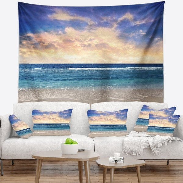 Designart 'Clear Blue Sky and Ocean at Sunset' Seascape Wall Tapestry