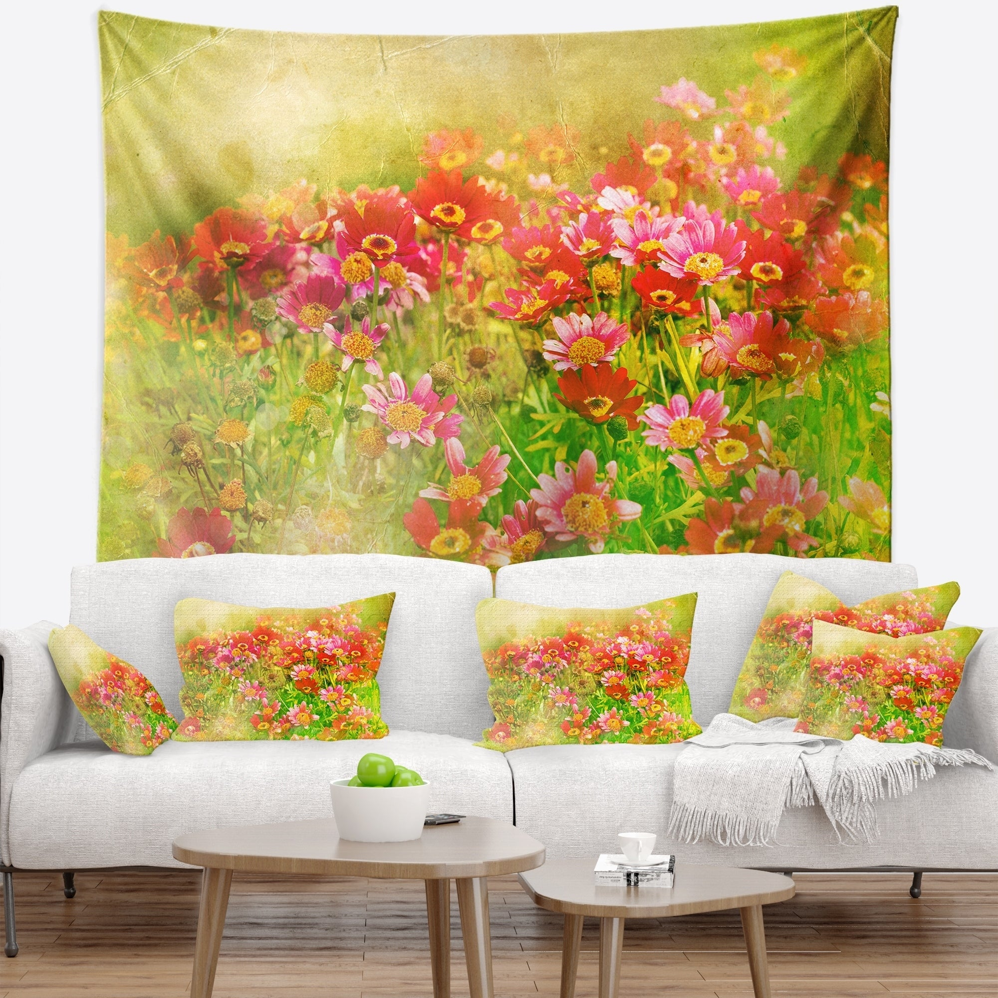 Designart \'Colorful Spring Garden with Flowers\' Floral Wall Tapestry ...