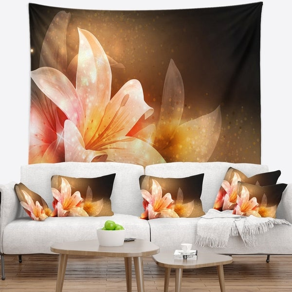 Porch & Den 'Shining Brown Fractal Flower' Floral Wall Tapestry
