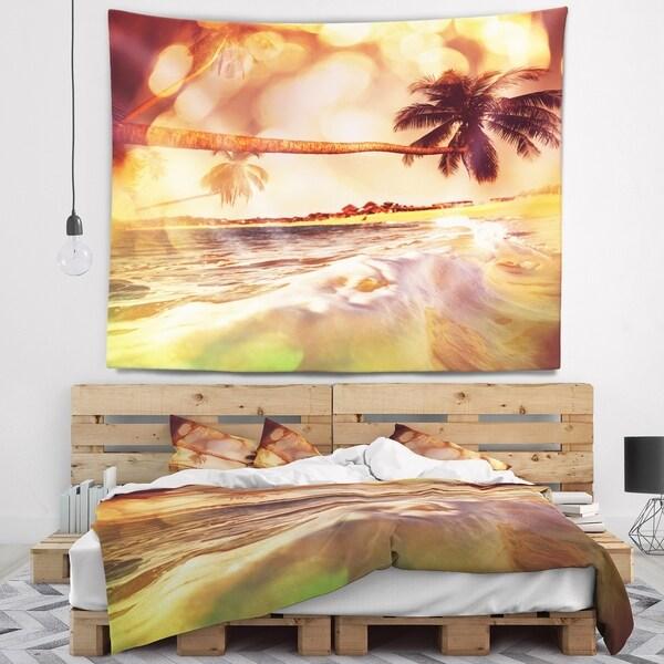 Designart 'Tropical Beach with Bent Coconut Palms' Modern Beach Wall Tapestry