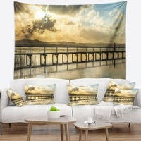 Designart 'Long Jetty Foreshore Reserve Panorama' Sea Bridge Wall Tapestry