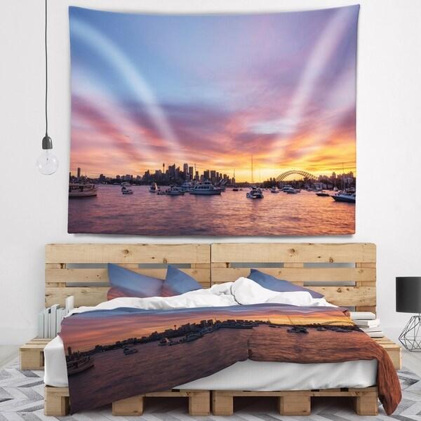 Designart 'Ferry in Sydney Harbor at Sunset' Landscape Wall Tapestry