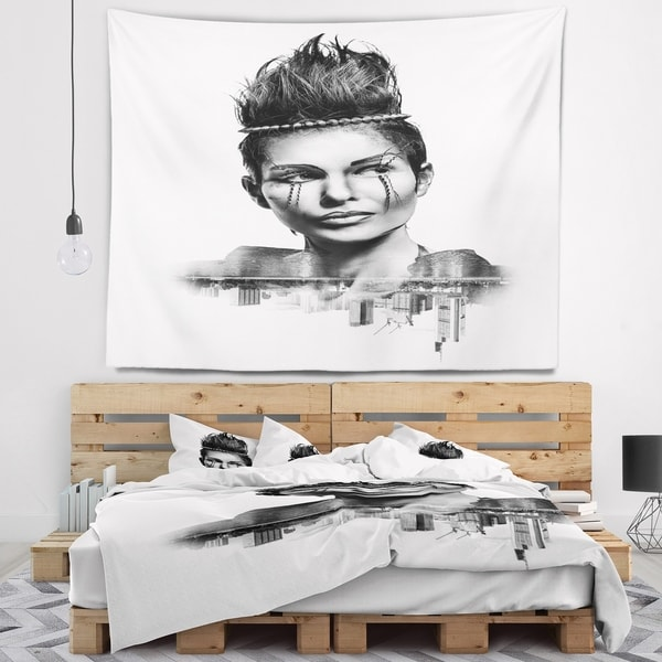 Designart 'Double Exposure Woman With Hair' Portrait Wall Tapestry