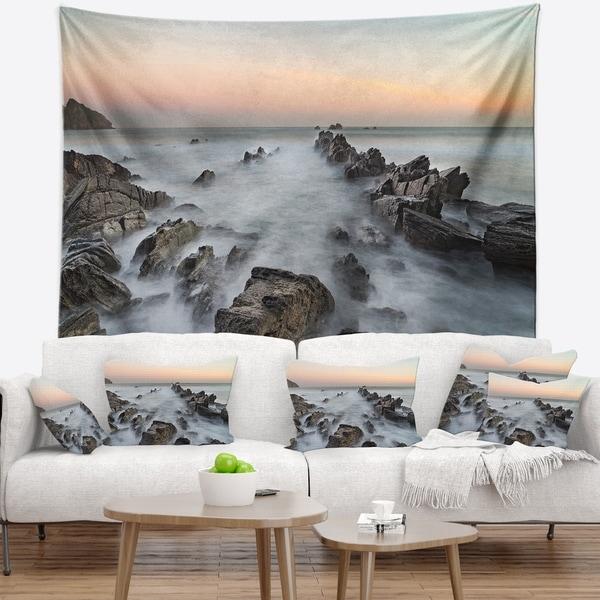 Designart 'Rocky Beach with White Waters' Modern Seashore Wall Tapestry