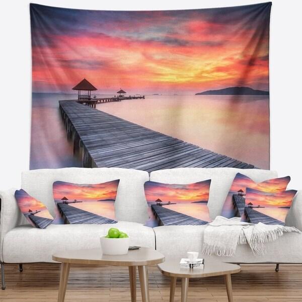 Designart 'Stylish Wooden Bridge and Beach Sky' Pier Seascape Wall Tapestry