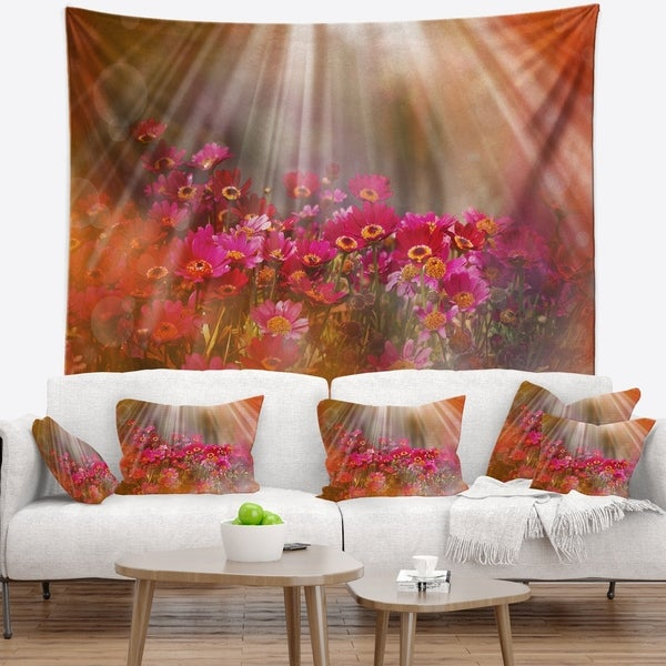 Designart 'Sunrays over Little Red Flowers' Floral Wall Tapestry