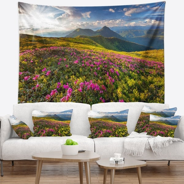 Designart 'Summer Day Rhododendron Flowers' Landscape Wall Tapestry