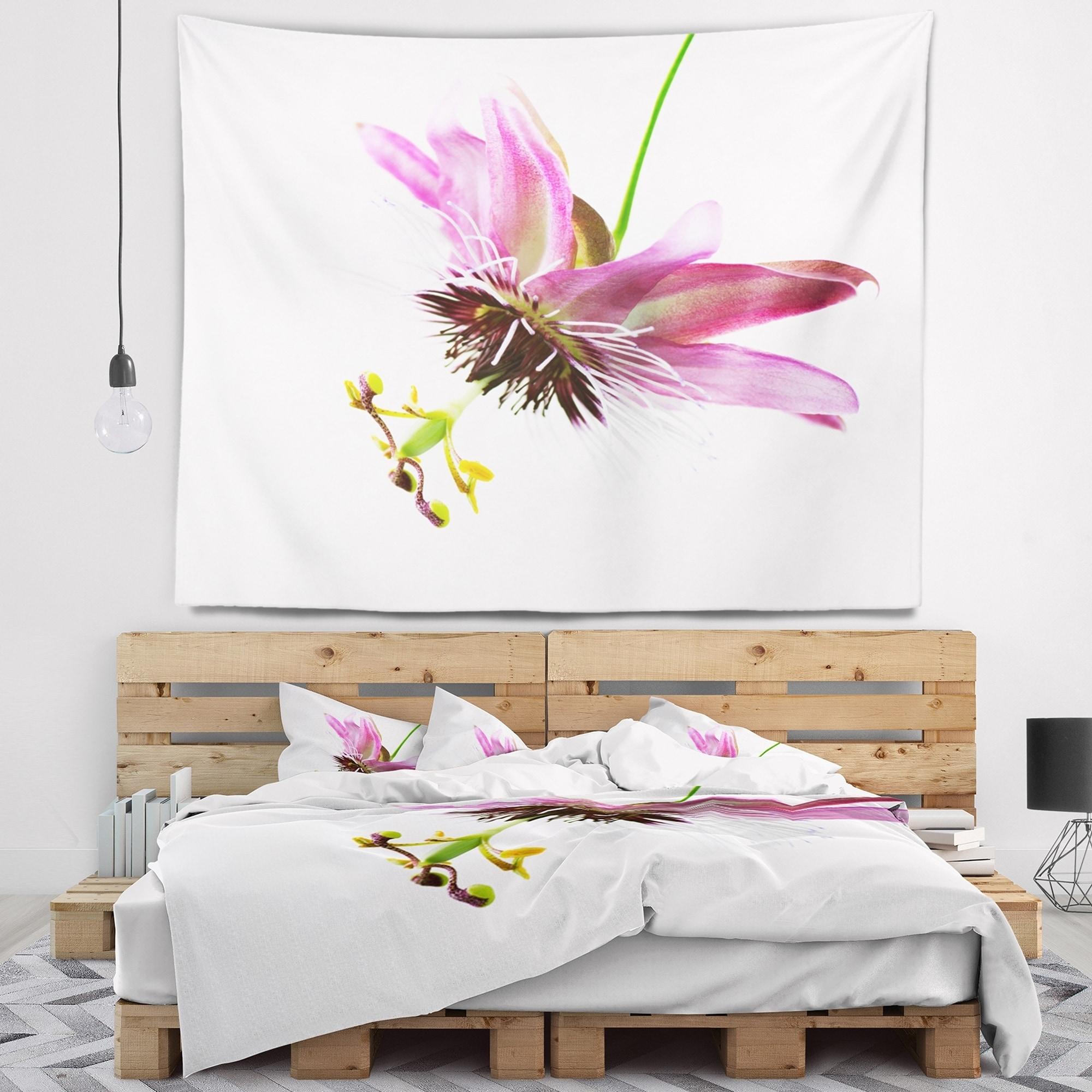 Shop Designart Passiflora Flower Over White Animal Wall Tapestry