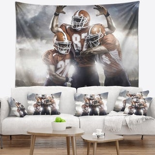 Designart 'American Footballer in Action' Sport Wall Tapestry
