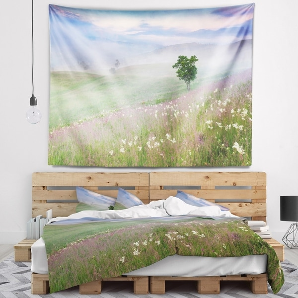 Designart 'Foggy Summer Morning in Mountains' Landscape Wall Tapestry