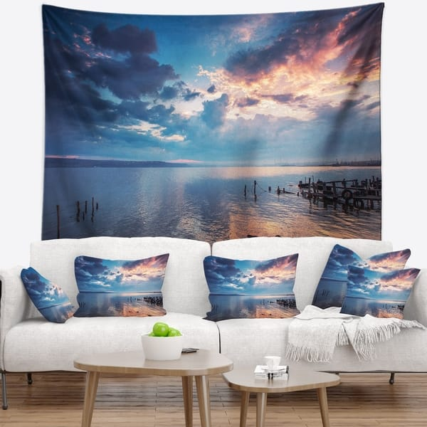 Designart Dramatic Sky Over Sunset Lake Landscape Wall Tapestry Overstock 20924871