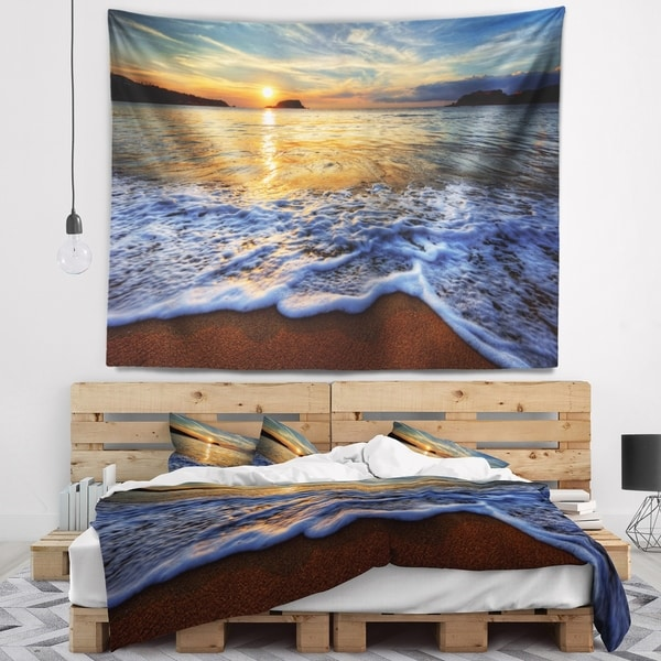 Designart 'Peaceful Sandy Beach with Waves' Wall Tapestry