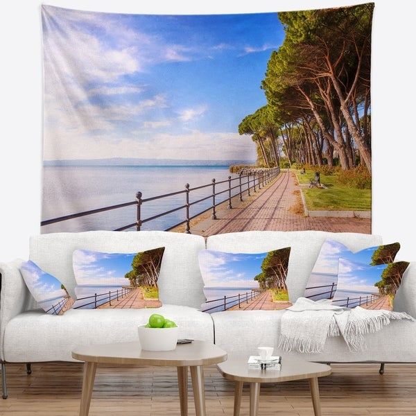 Designart 'Promenade and Pine Trees in Italy' Landscape Wall Wall Tapestry