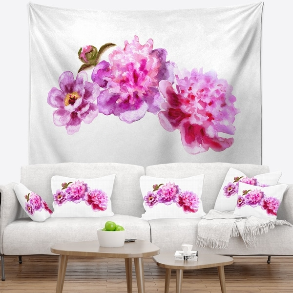 Designart 'Bright Pink Peony Flowers' Floral Wall Tapestry
