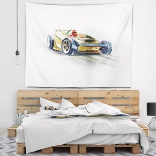 Designart 'Yellow Formula One Car' Digital Art Car Wall Tapestry