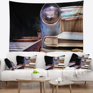 Designart 'Front Headlight Of Vintage Car' Cars Wall Tapestry
