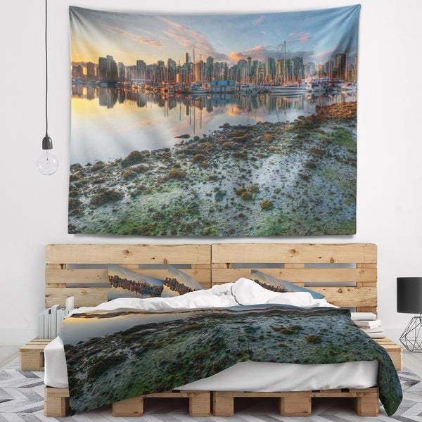 Designart 'Beautiful Sunrise at Vancouver Downtown' Seashore Wall Tapestry