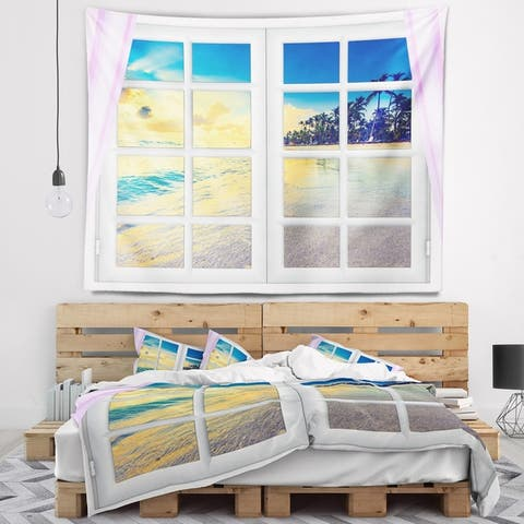 Designart 'Closed Window to Ocean Sunset' Landscape Wall Wall Tapestry