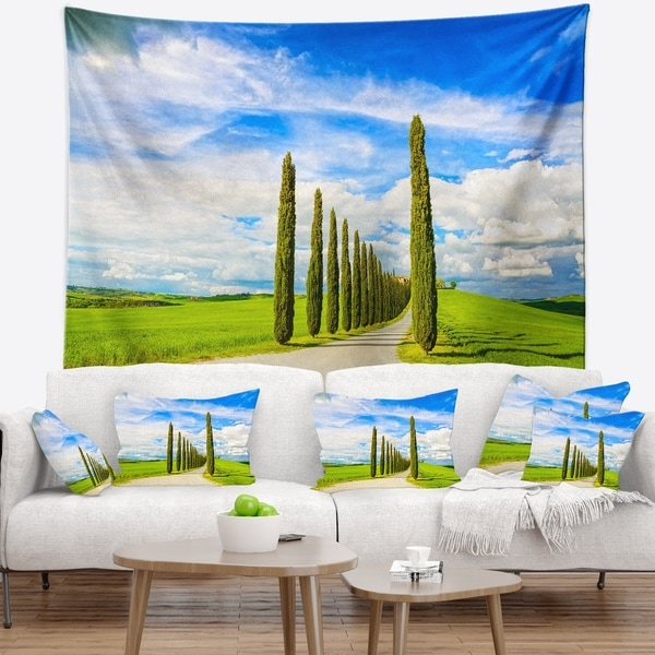 Designart 'White Road through Cypress Trees' Landscape Wall Wall Tapestry