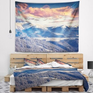 Designart 'Winter Alpine Sunset over Hills' Landscape Wall Tapestry