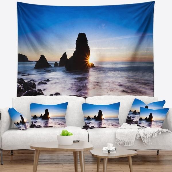 Designart 'Sunset at Rodeo Beach Panorama' Seashore Wall Tapestry